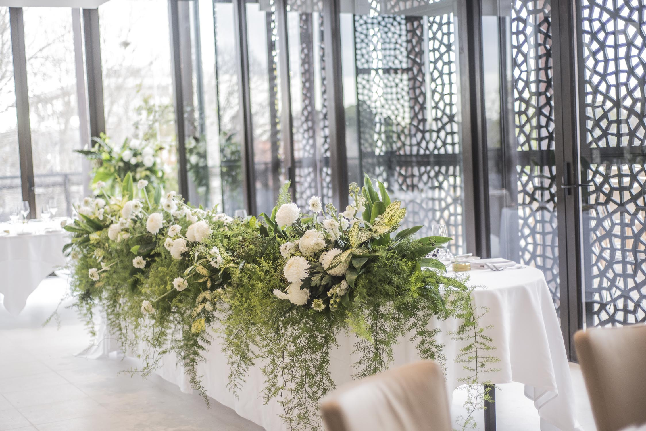 Foliage garland for the head table