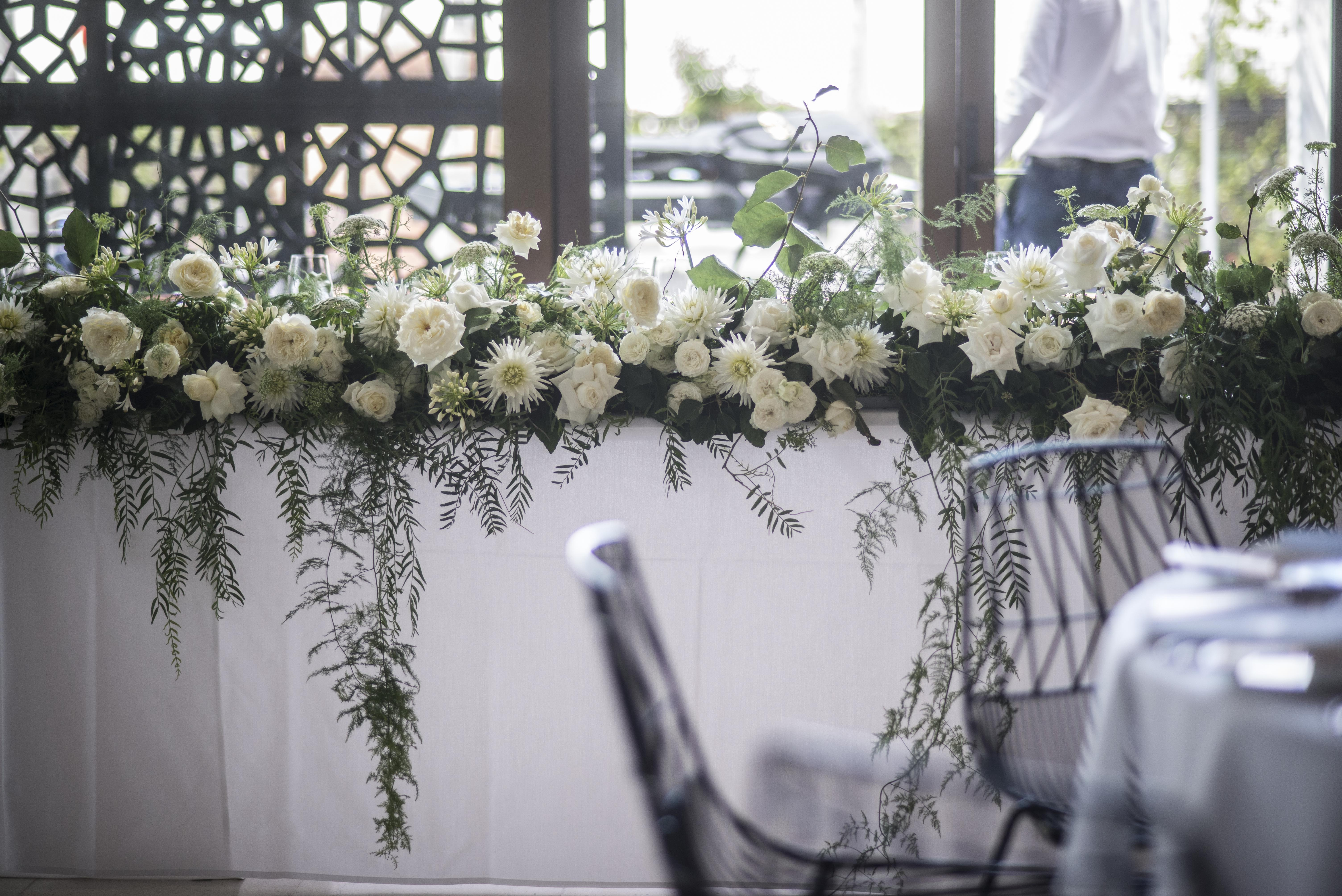 Lush Summer bridal table garland