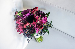 Berry coloured bridal bouquet