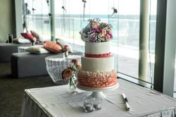 Pink wedding cake flowers