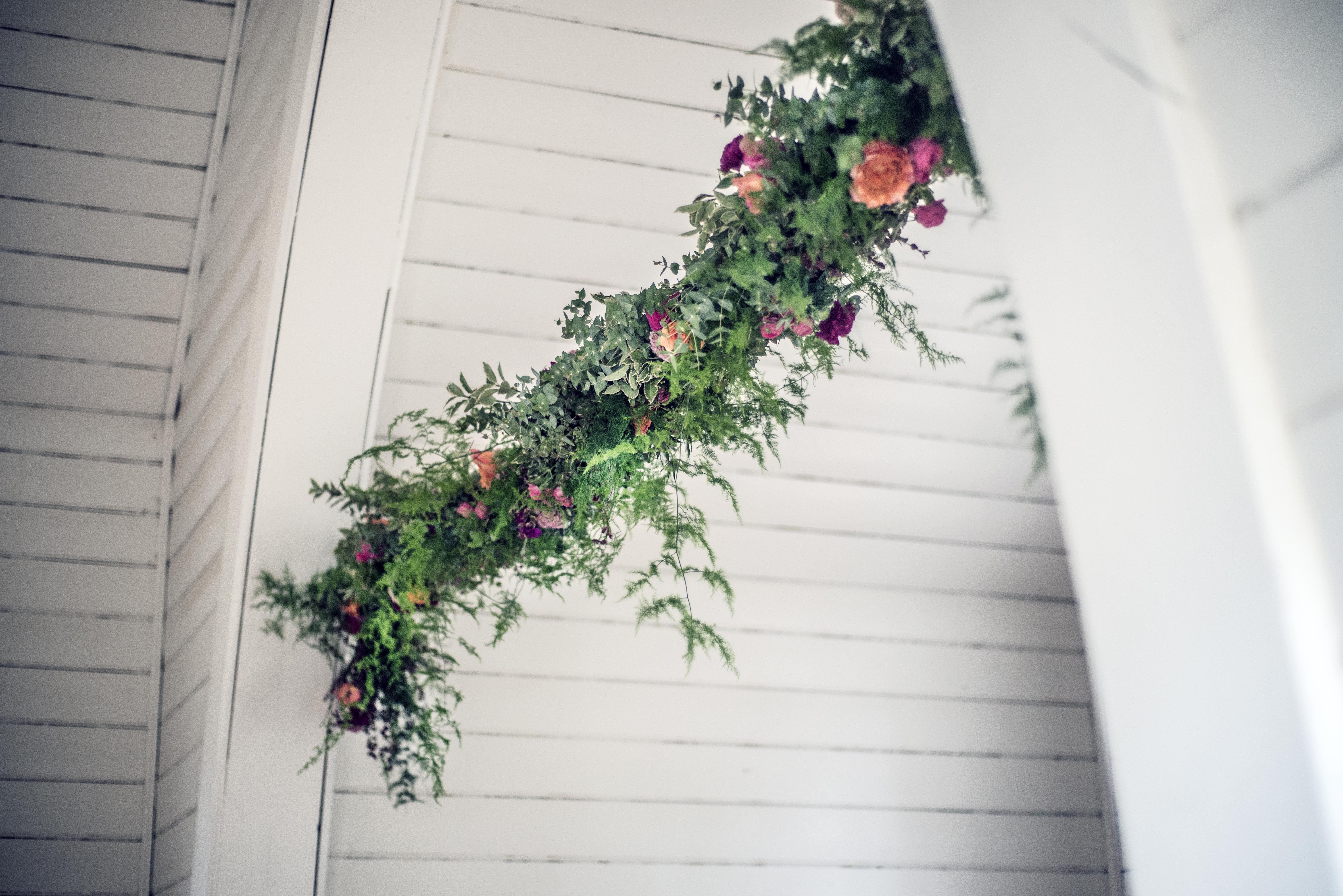 Hanging mixed floral garland