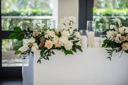 Bridal table arrangement in cream & blush pink