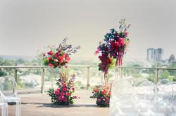 Ceremony stand flower arrangements