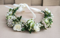White and green bridal flower crown