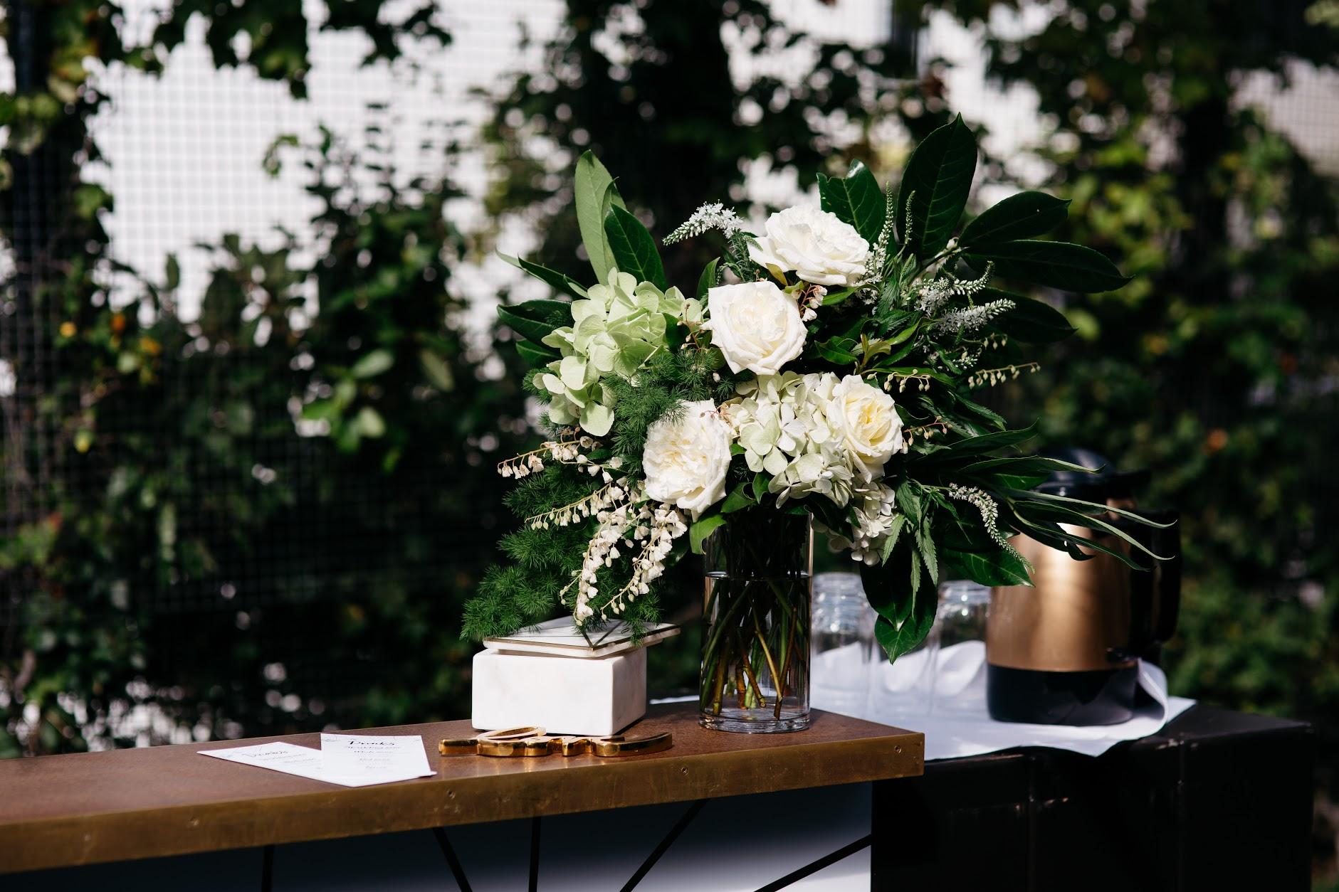Signing table flower arrangement