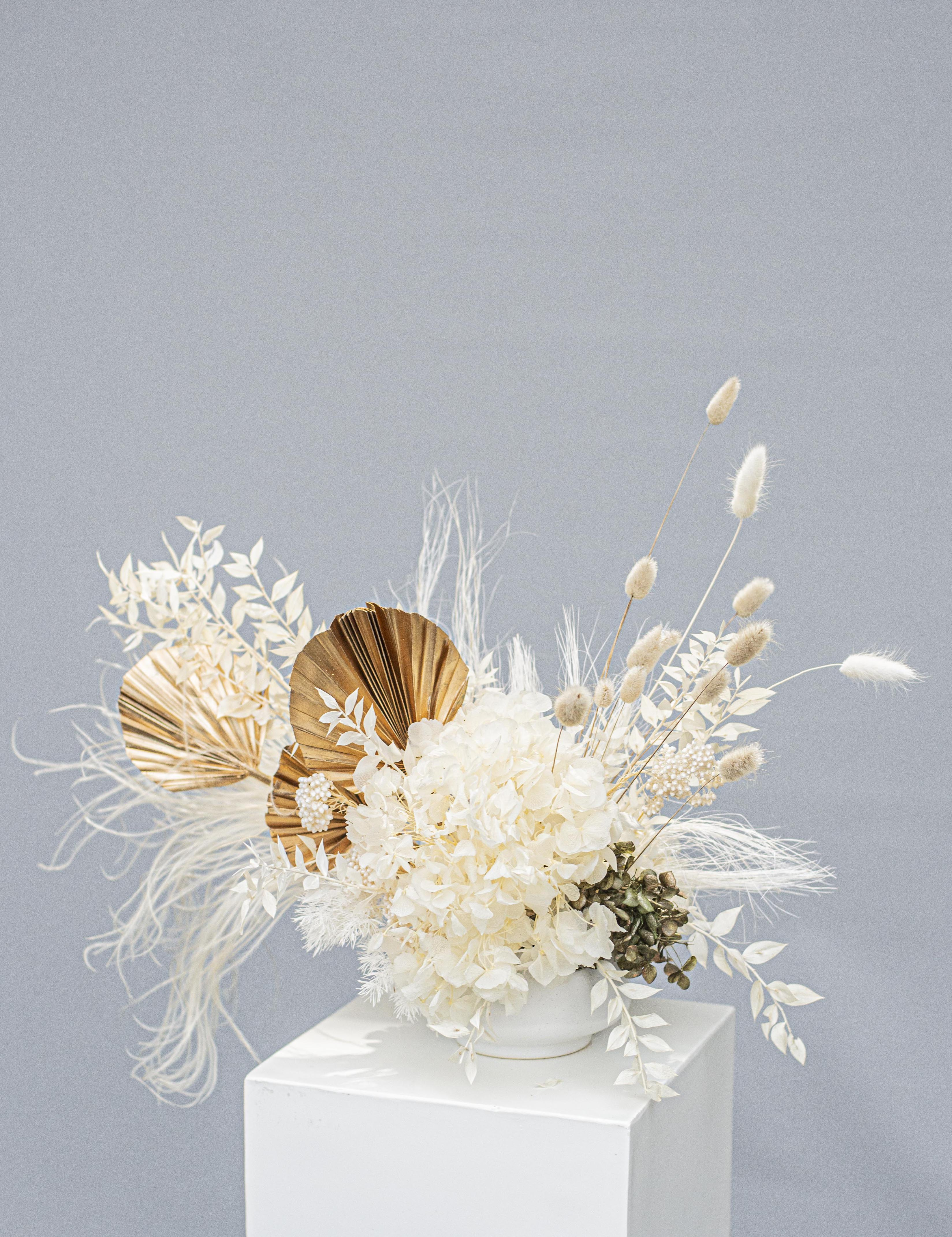 Dried / preserved reception table centrepiece