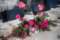 Garden style bridal table flowers