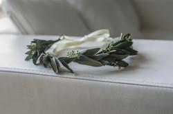 Olive foliage flower girl crown
