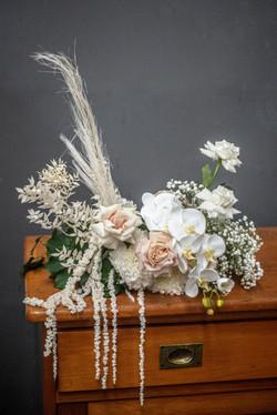 Guest table fresh flower arrangement