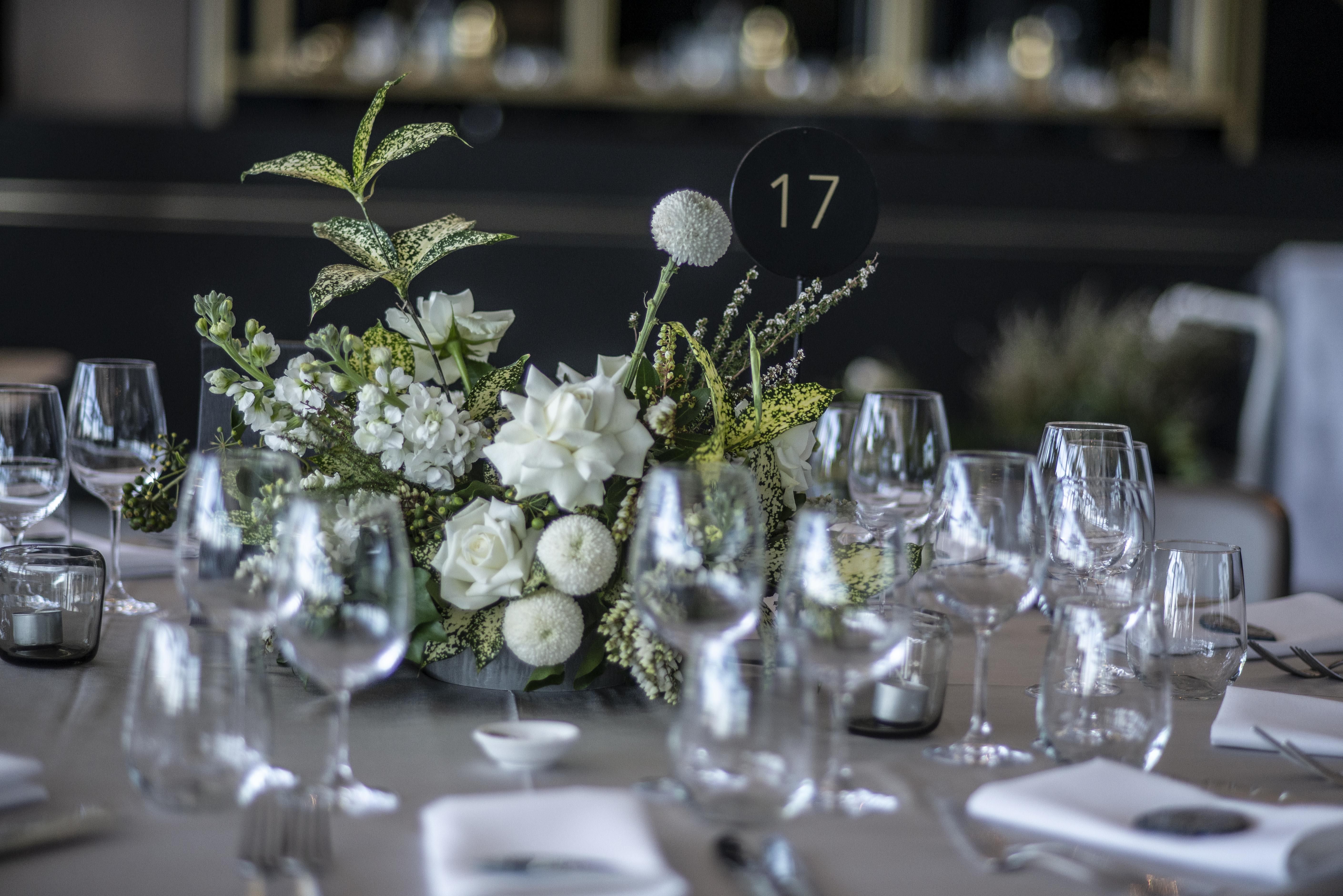 Wedding reception table centrepieces