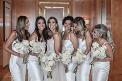 Cream & white bridal party flowers