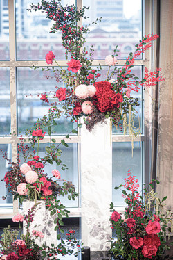 Fresh floral ceremony backdrop