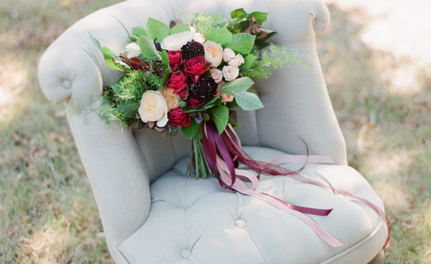 Marsala coloured bridal bouquet