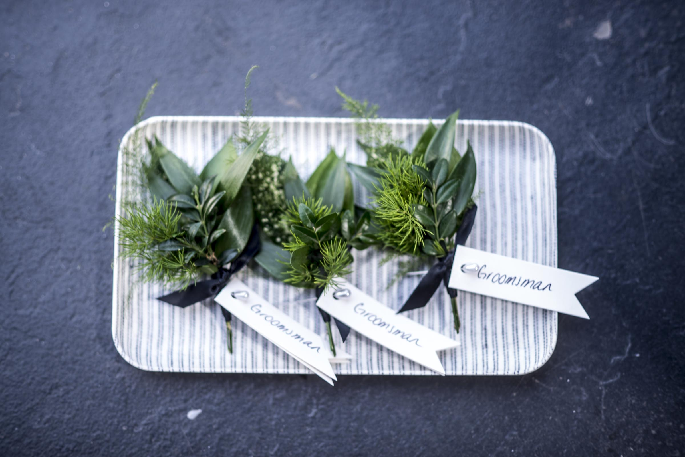 Mixed foliage buttonholes