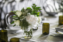 Green & white flower arrangements