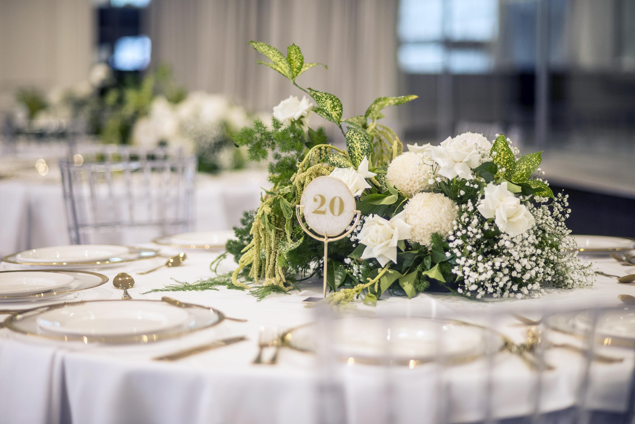 Textured green & cream table centres