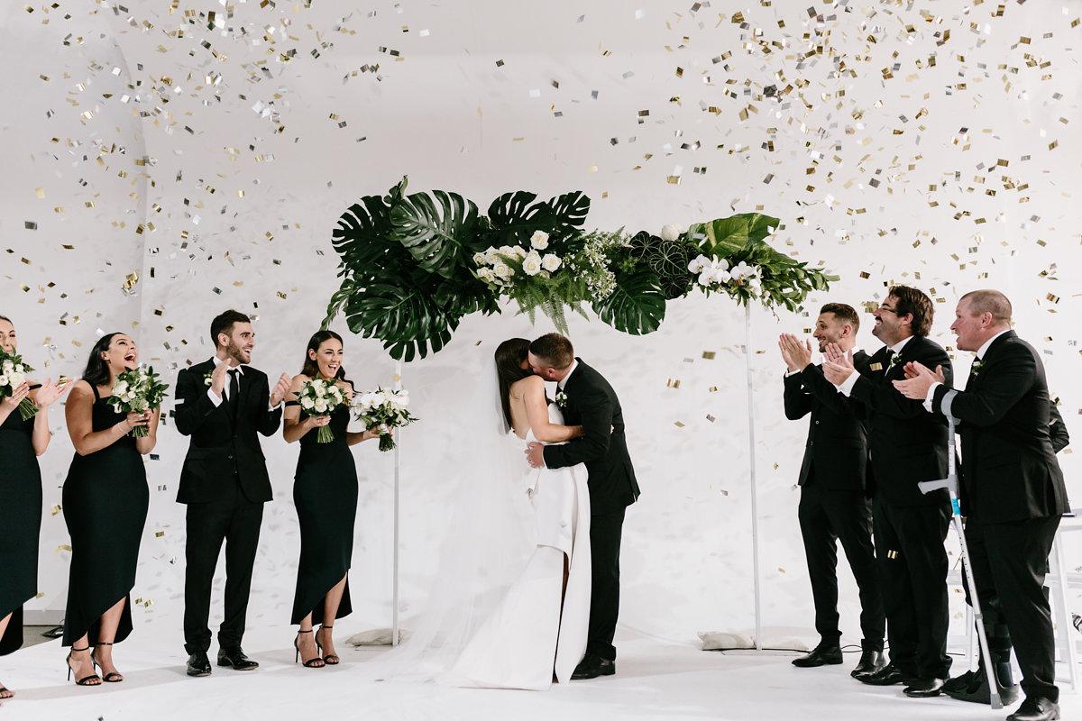 Ceremony arch - tropical & white pop