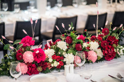 Bridal table garland in pinks, white & & red