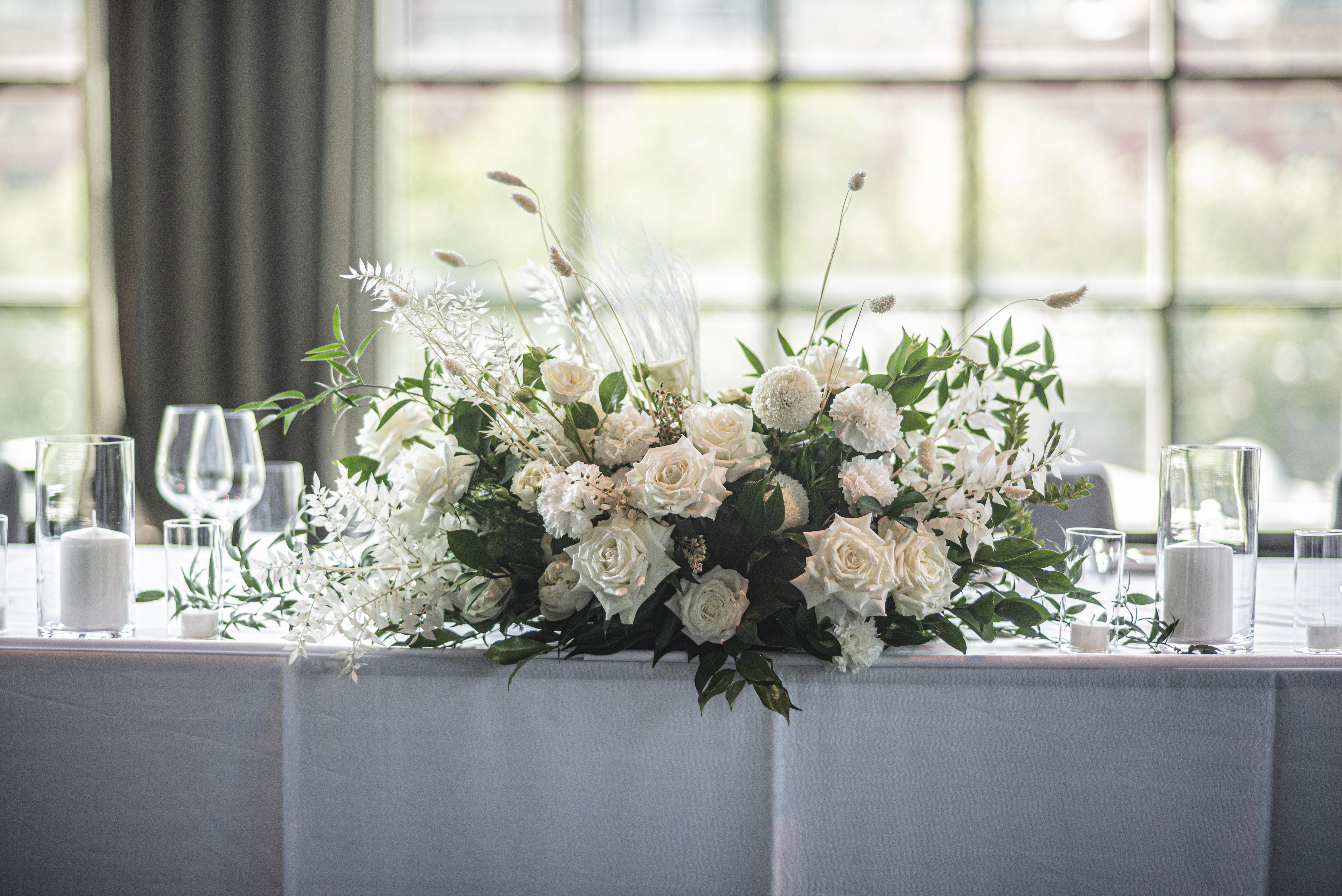 Bridal table flower arrangements