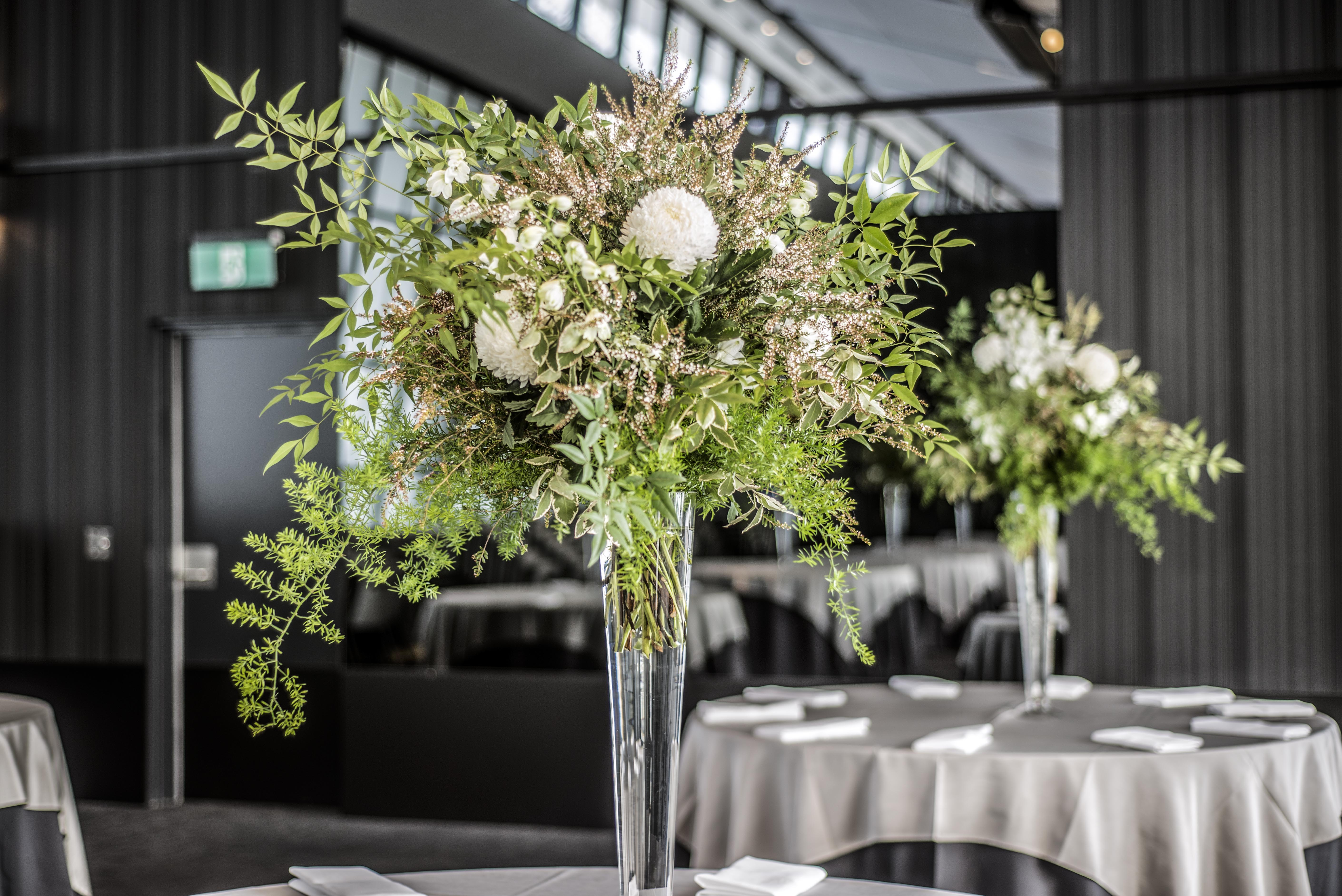 Tall floral wedding centrepiece