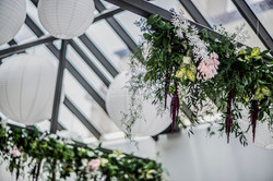 Hanging textured & mixed foliages hanging from beams