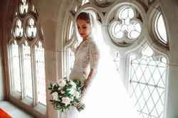 Green & cream domed brides bouquet