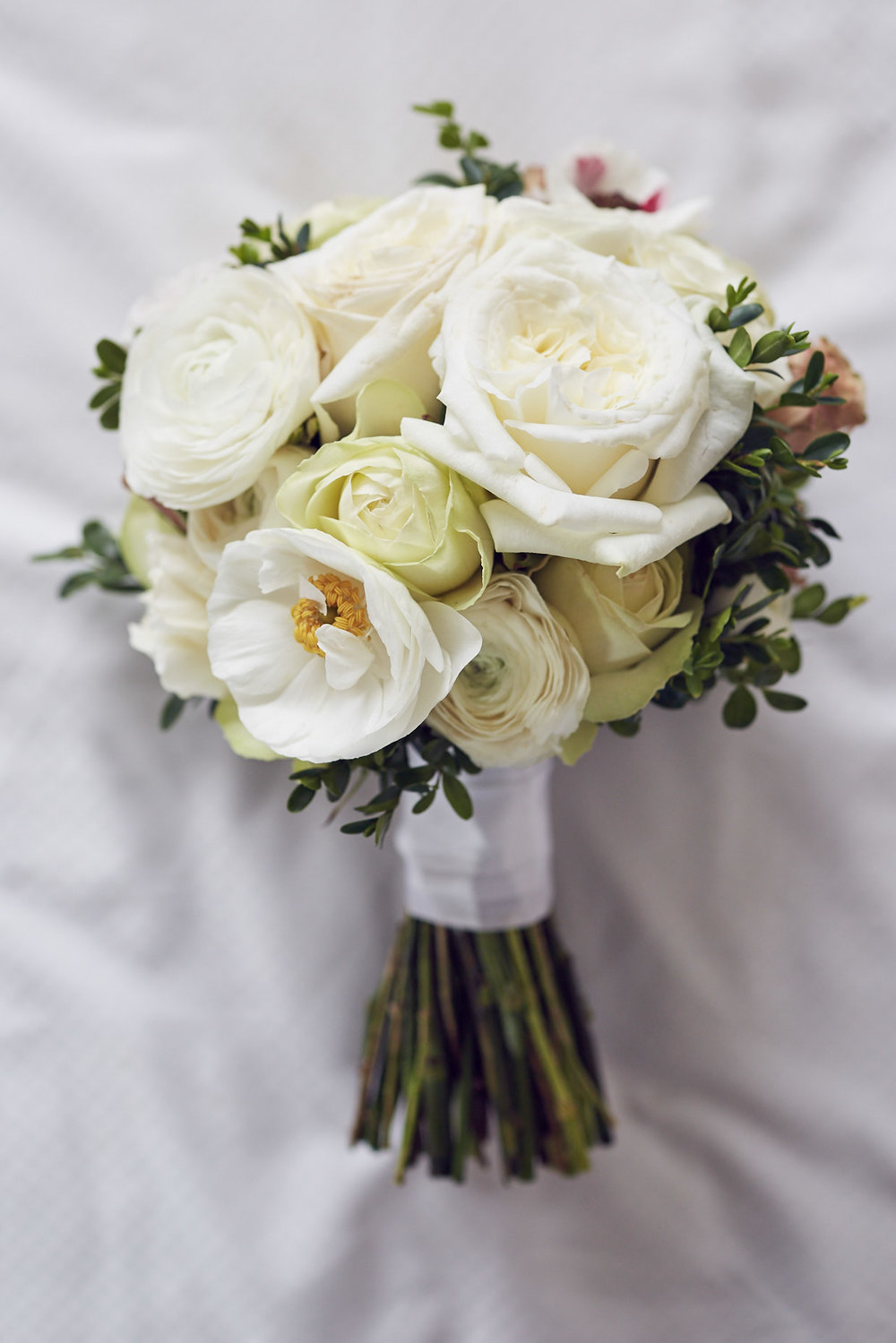 Domed cream & green brides bouquet