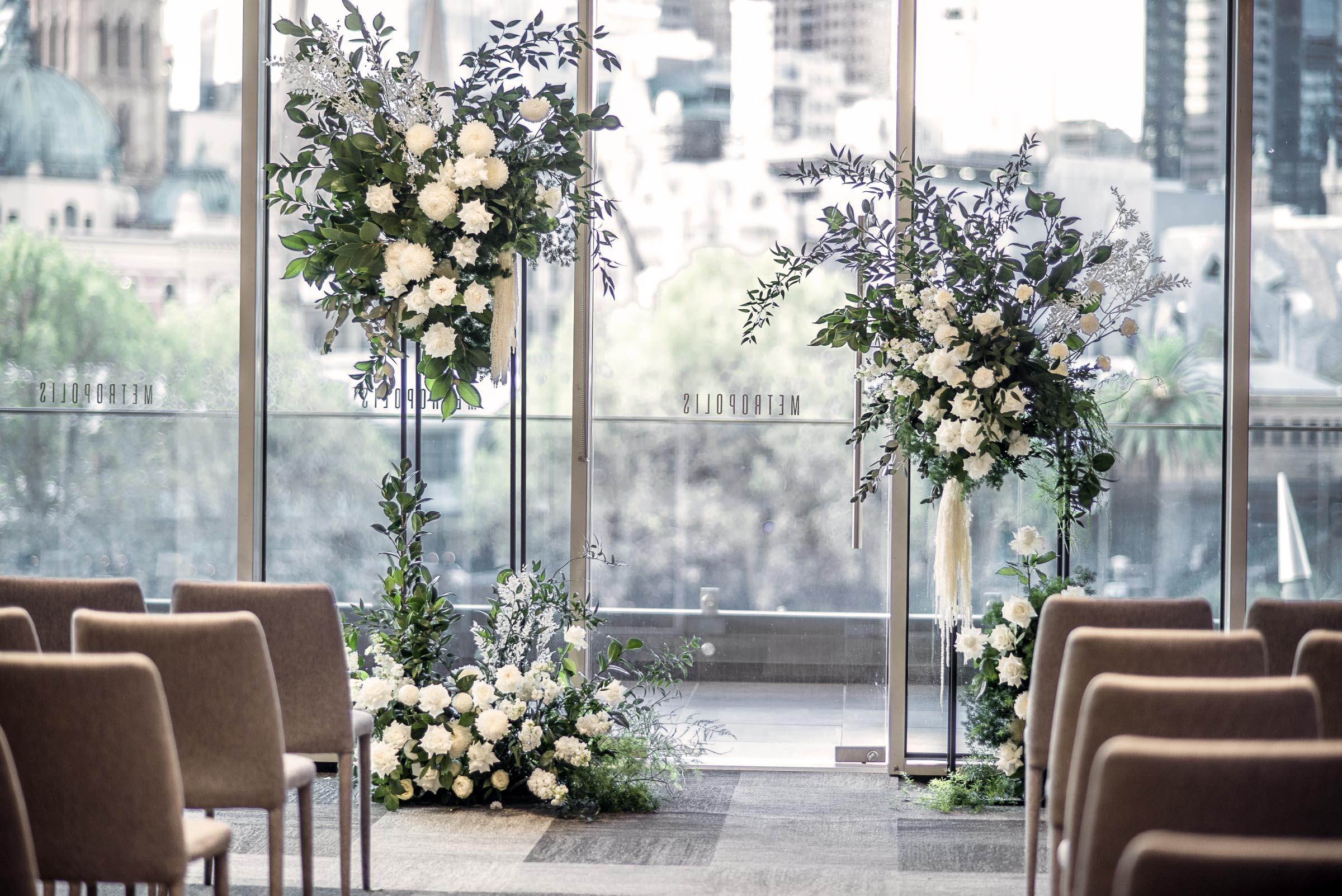 White & green ceremony flowers