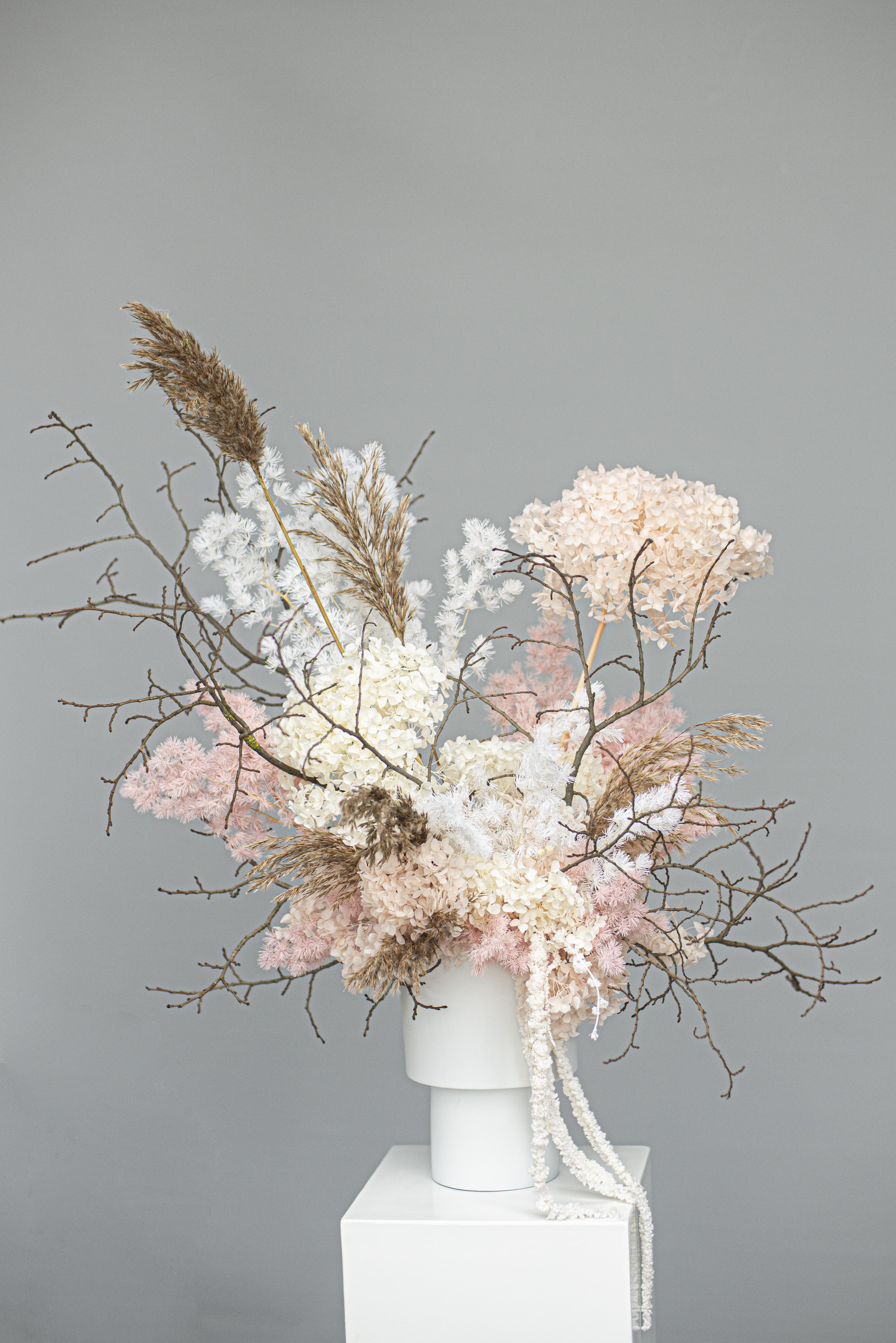 Pink & cream preserved flower feature flowers
