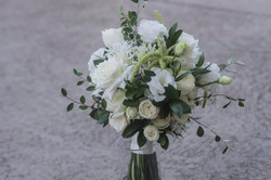 White & green bride bouquet