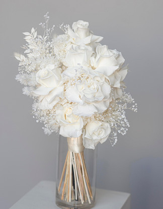 Dried rose filled brides bouquet