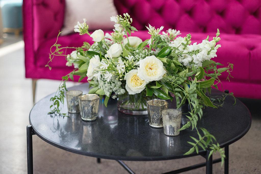 Wild garden style flower arrangement