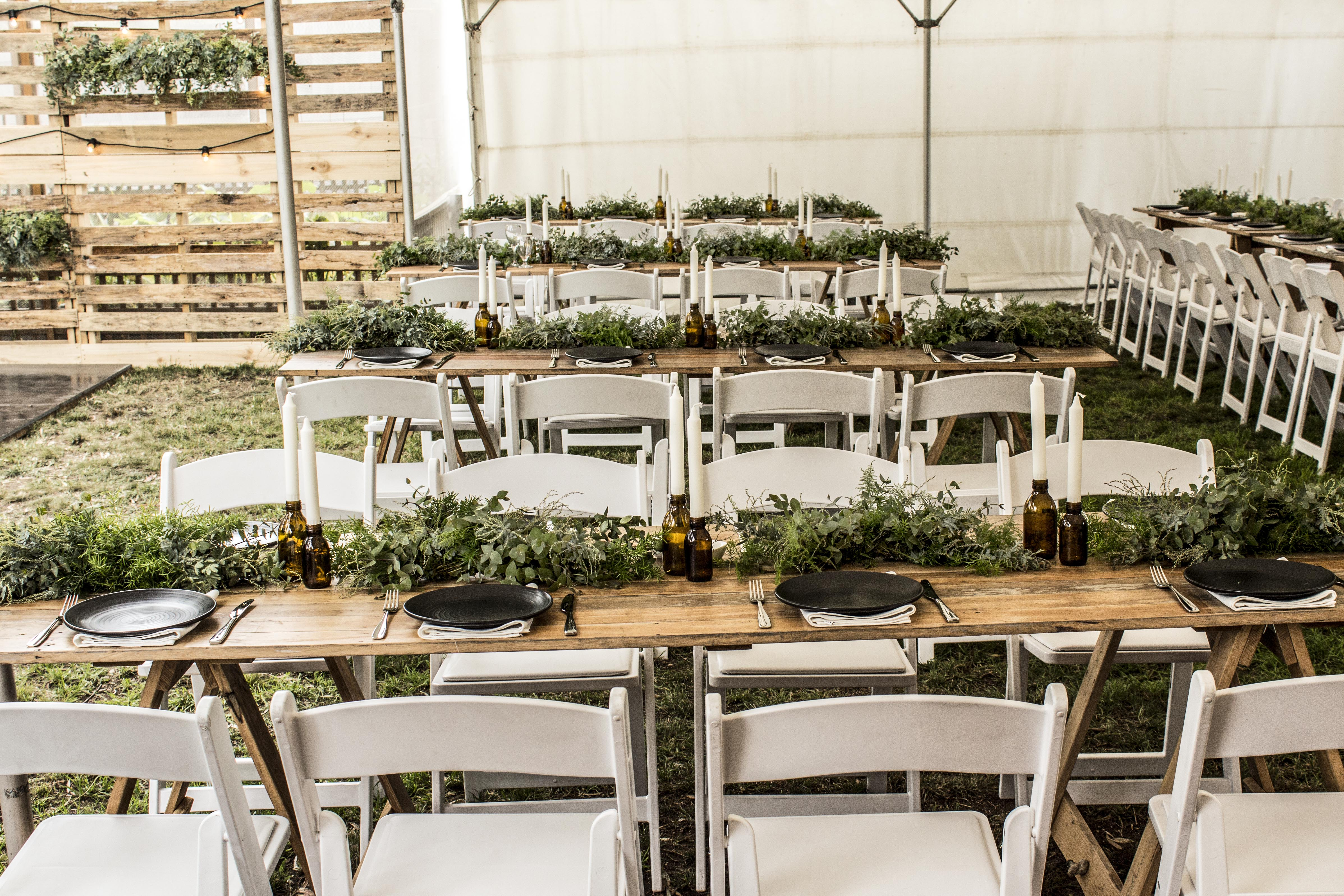 Wedding foliage table garland