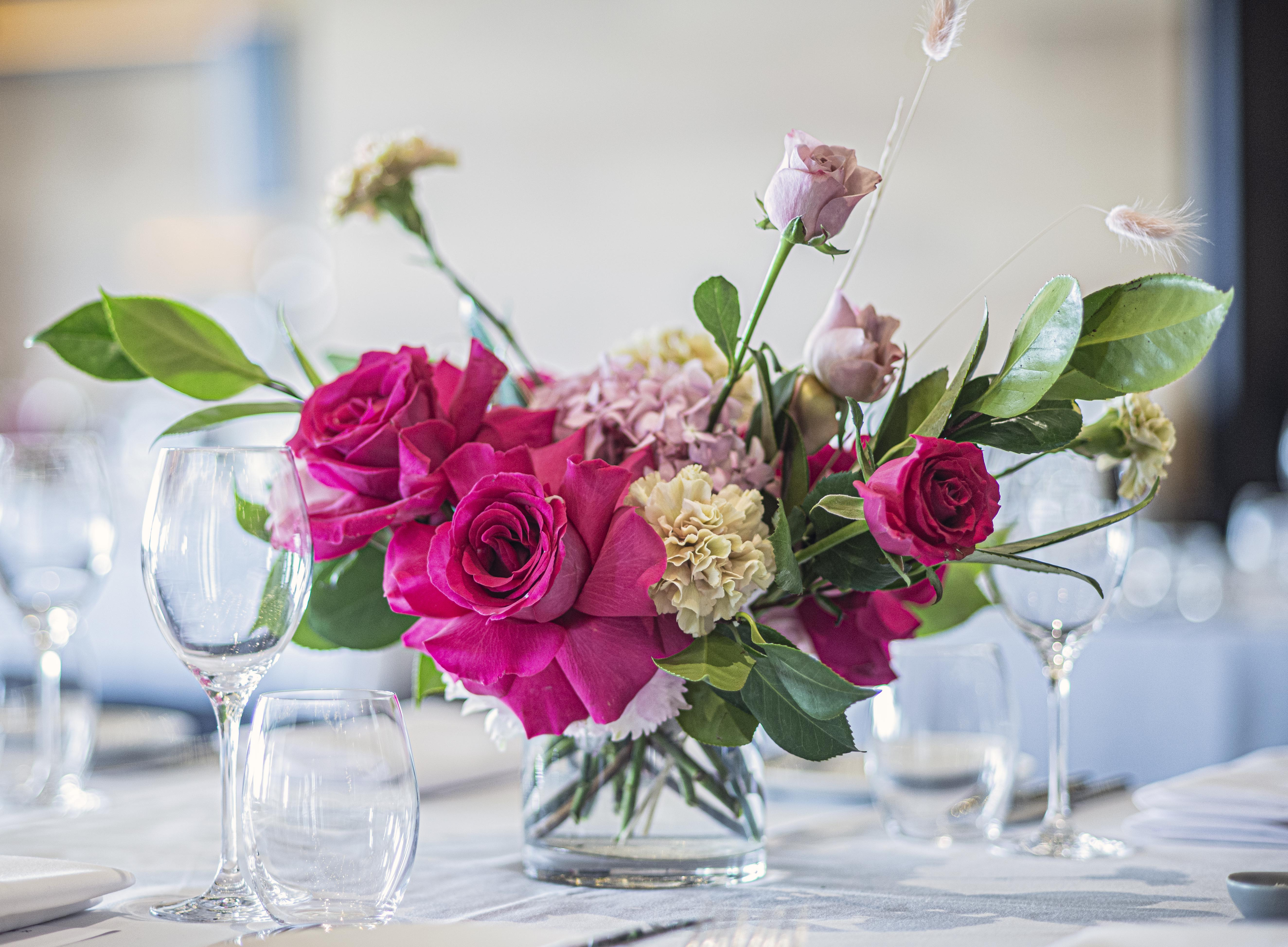Jewel coloured table arrangement