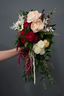 Modern cascade brides bouquet