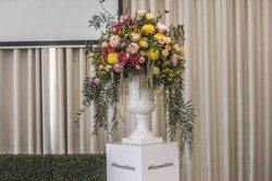 Pink and yellow fresh floral Urn