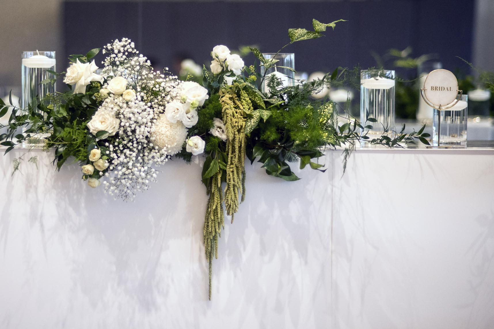 Bridal table flowers - greens & creams