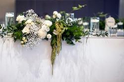 Bridal table flowers - greens & creams