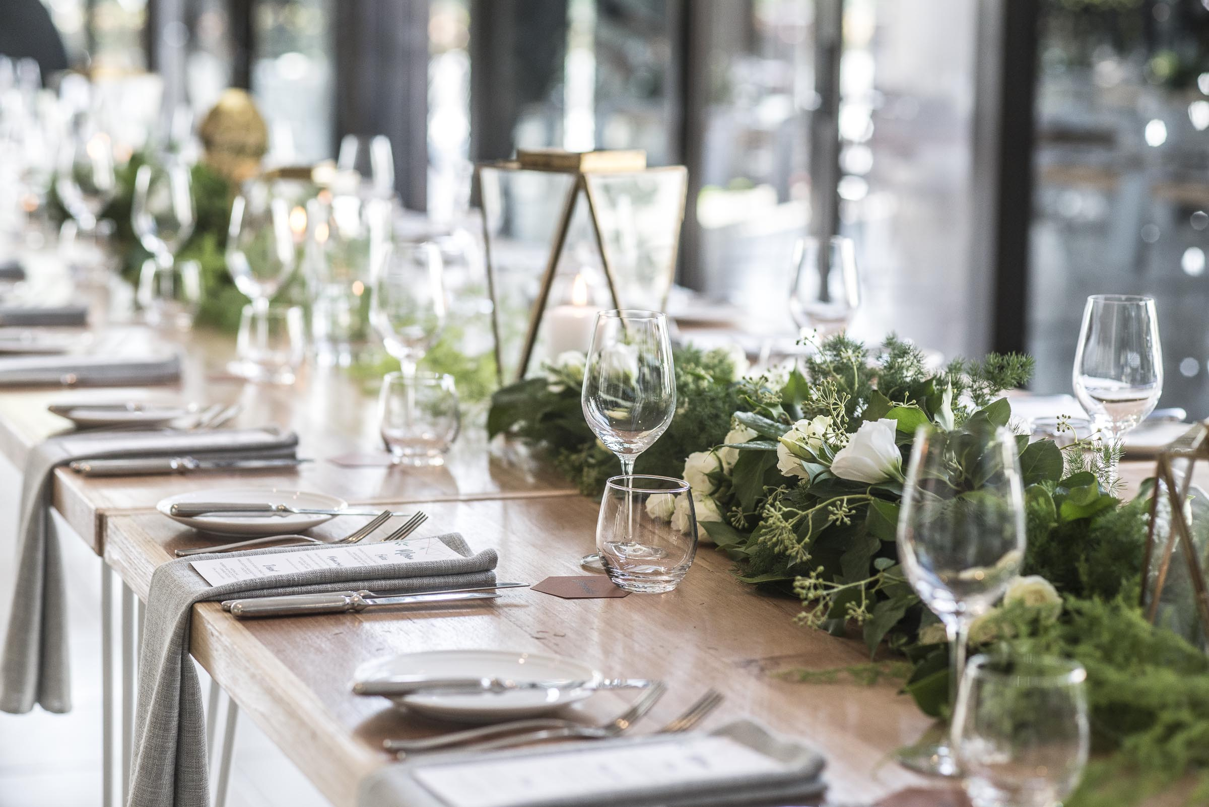 Foliage guest table garlands