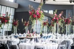 Flower arrangements on stands
