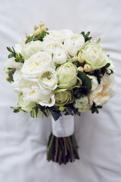 Round white & green bridal bouquet
