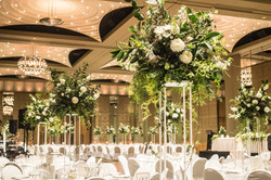 Flower arrangements on stands