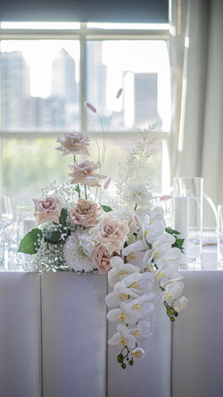 Bridal table flowers - blush & cream