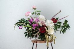 Garden style guest table arrangement