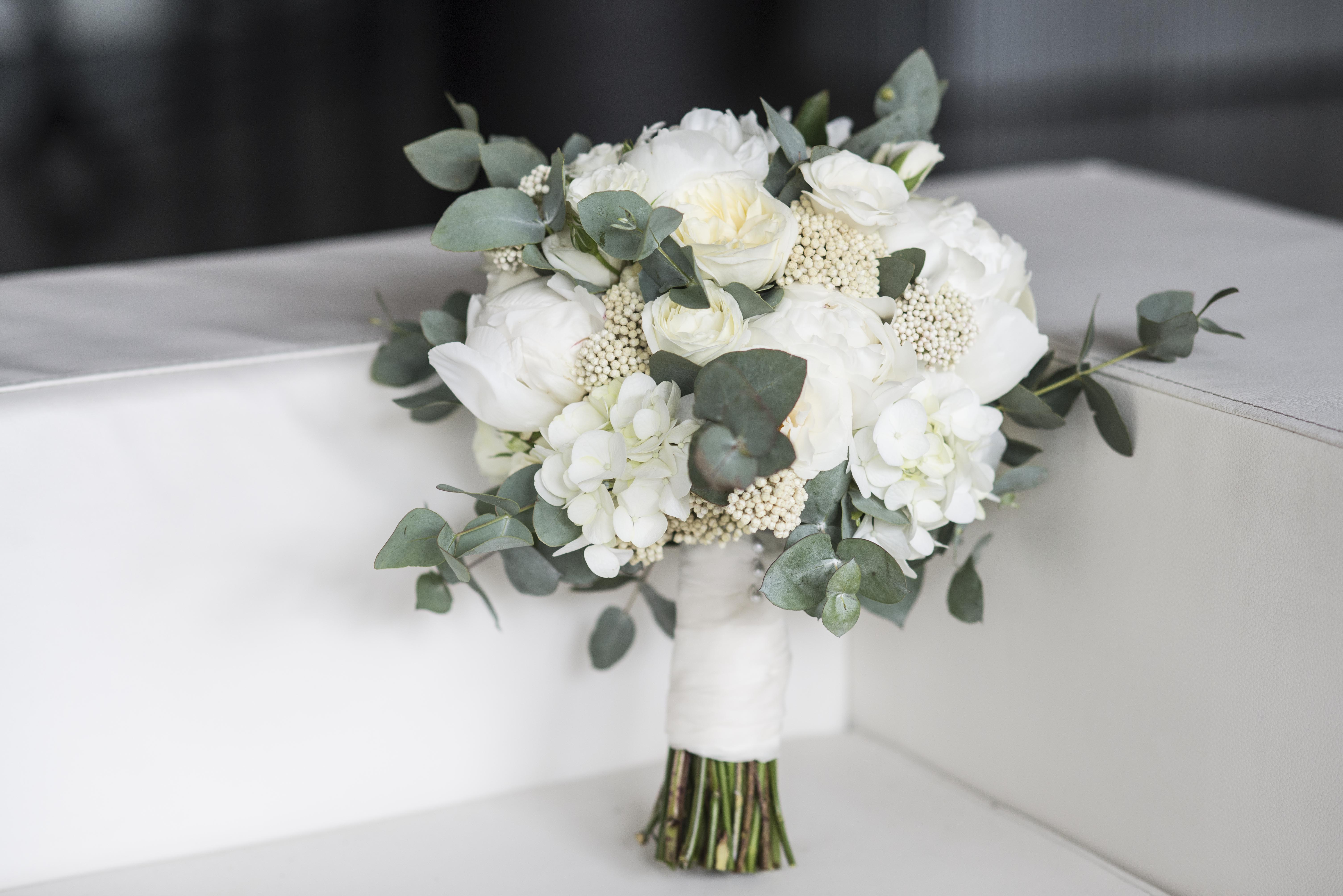 White, cream & silvery green bouquet