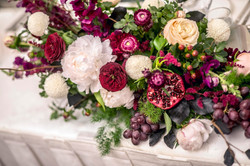 Bridal table flowers with fruit