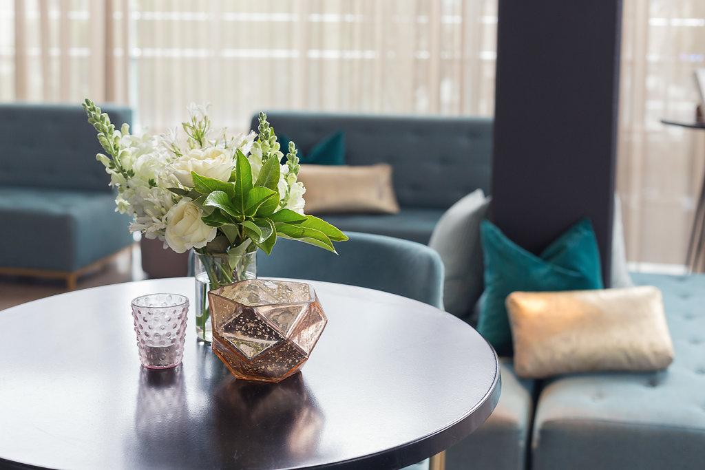 Bar table mixed flower & foliage arrangements