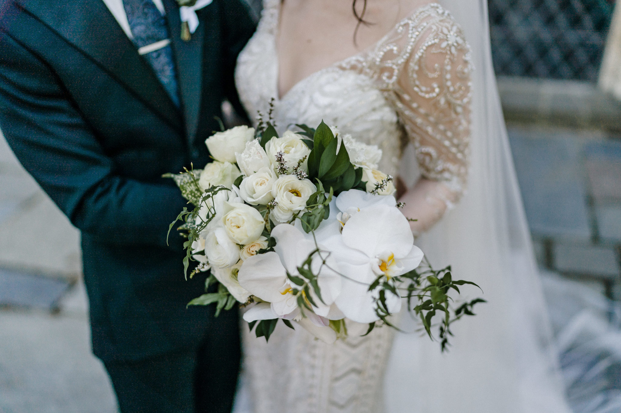 White cream & green brides bouquet