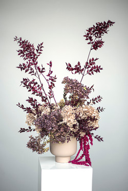 Mauve & pink preserved flower feature flowers