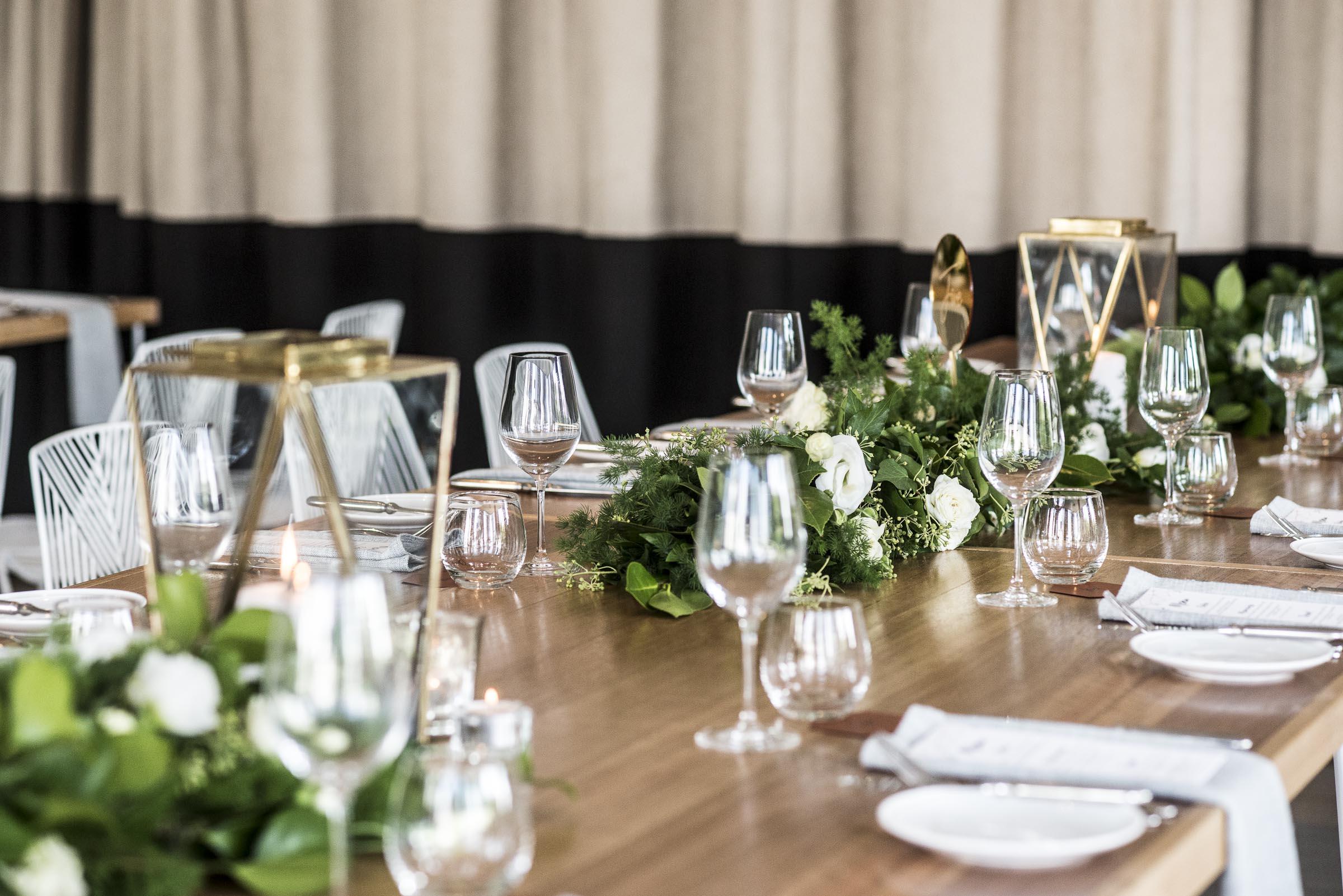 Reception table garlands